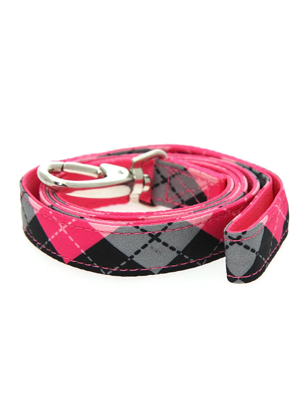 Pink Argyle Fabric Lead