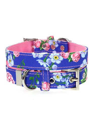 Pink / Blue Floral Burst Fabric Collar