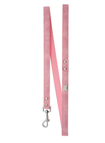 Pink Leather Diamante Bone Charm Lead