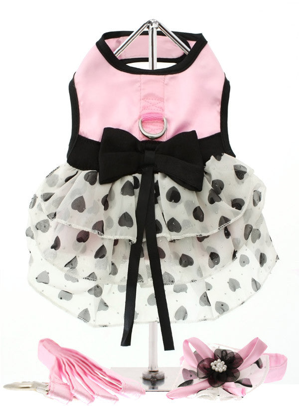 Pink Satin & Hearts Chiffon Harness Dress for Dogs from Smiley Myley