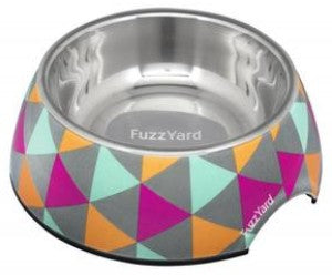 Fuzzyard Pop Easy Feeder Bowl for Dogs features a grey bowl with colourful triangle design