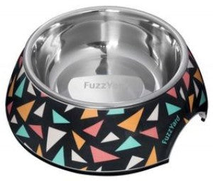 This fuzzyard dog bowl is in black and is covered in colourful triangle shapes