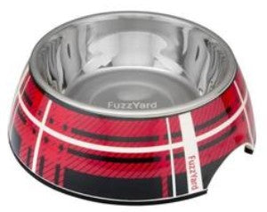 Fuzzyard Red Fling Easy Feeder Pet Bowl for Dogs features a colourful red & black tartan