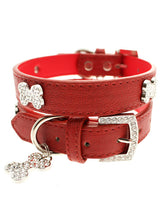 Red Leather Diamante Collar & Diamante Bone Charm