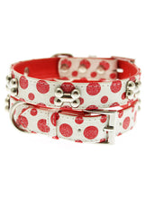 Red / White Polka Dot Glitter Silver Bone Collar