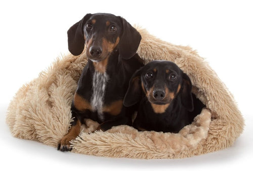 Dog's love to tunnel into the soft interior of these luxurious shaggy blanket pod in camel