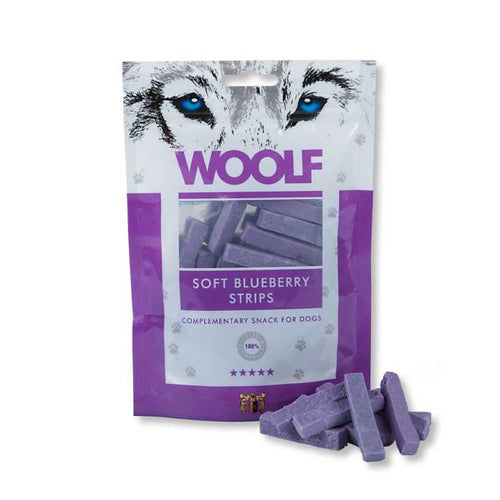 Woolf Soft Blueberry strips are made of 100% high quality protein sources for Smiley Myley