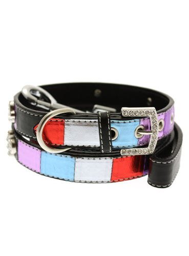 Striped Metallic Diamante Paw Collar & Lead Set
