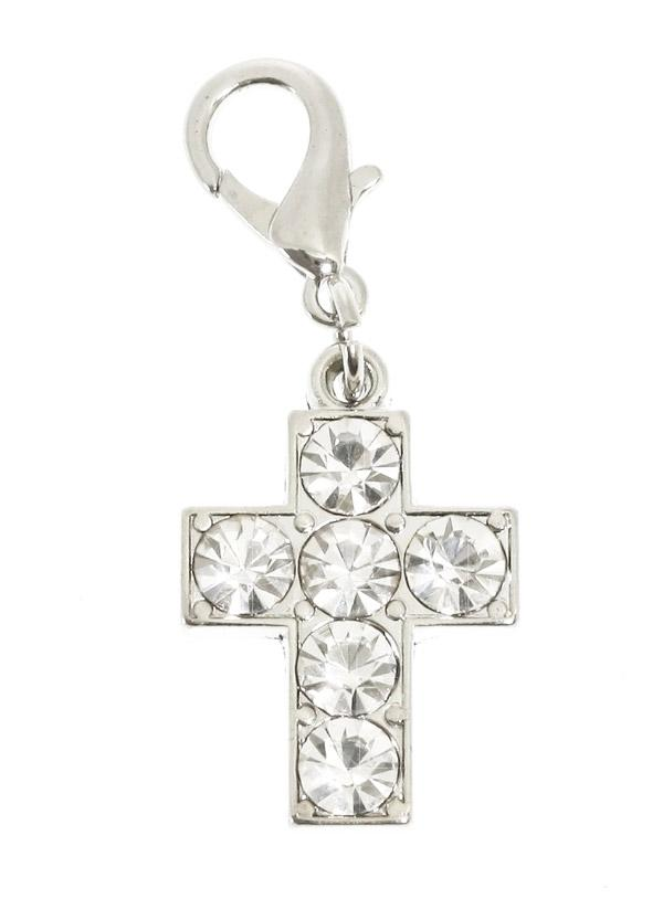 a stunning silver cross shaped charm for your dogs collar, covered in clear swarovski diamantes