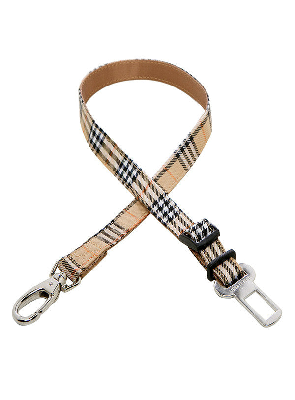 Brown Checked Tartan Seat Belt Restraint for your dog from Smiley Myley