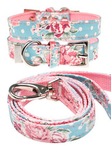 Vintage Rose Floral Fabric Collar & Lead Set