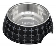 modern dog feeder bowl, the Yeesy bowl from fuzzyard is black with a pattern of grey crosses
