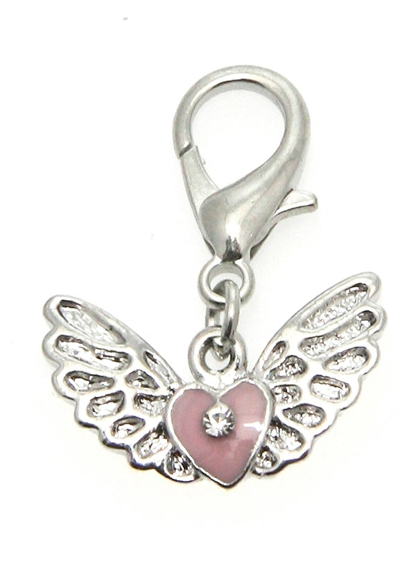 a beautiful pink heart shaped charm with silver angels wings for your dogs collar