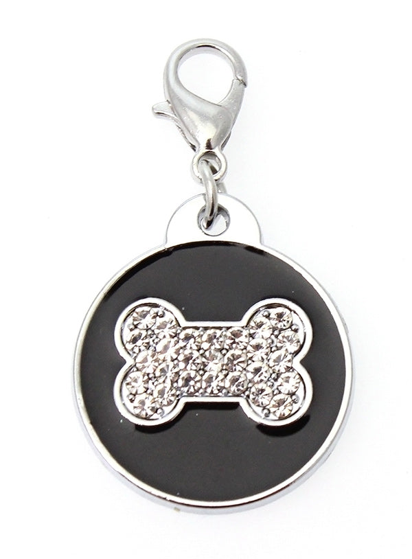 Black Enamel & Diamante Bone Dog Collar Charm is encrusted with diamantes set against black enamel