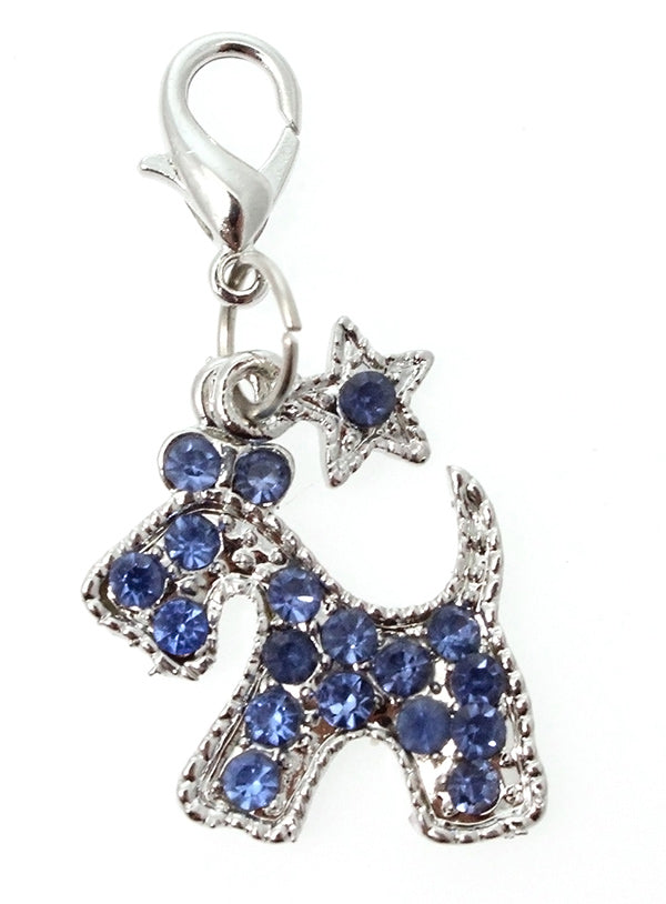 A beautifully shaped Blue Diamante Scottie Dog Collar Charm.