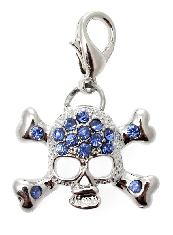 Blue crystal encrusted skull & crossbones dog collar charm for your pup