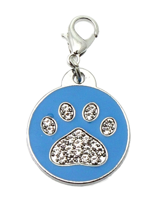 Blue Enamel & Diamante Paw Dog Collar Charm is encrusted with diamantes and set against blue enamel