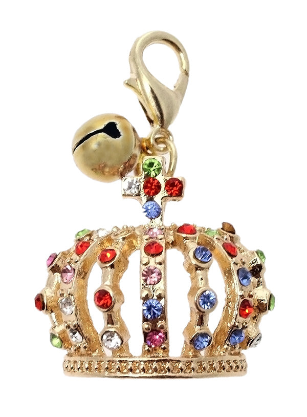 this beautiful dog crown charm features green, blue, red and pink diamanté crystals in gold alloy.