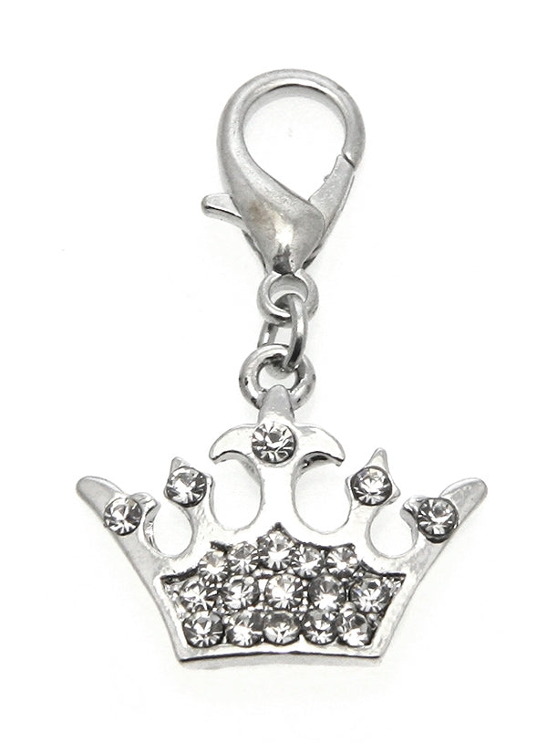 This impressive charm is an Imperial Crown rendered in stainless steel & detailed with 15 crystals