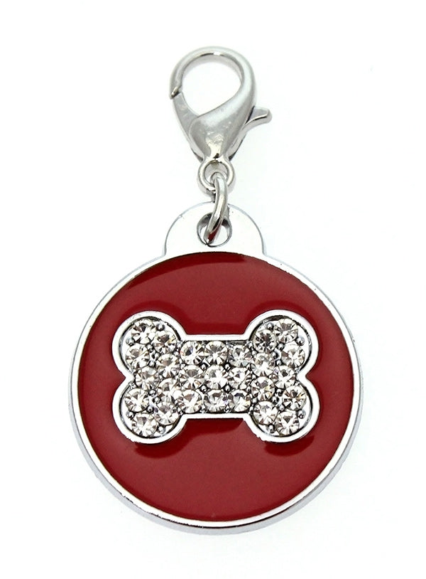 Red Enamel & Diamante Bone Dog Collar Charm is encrusted with diamantes and set against red enamel