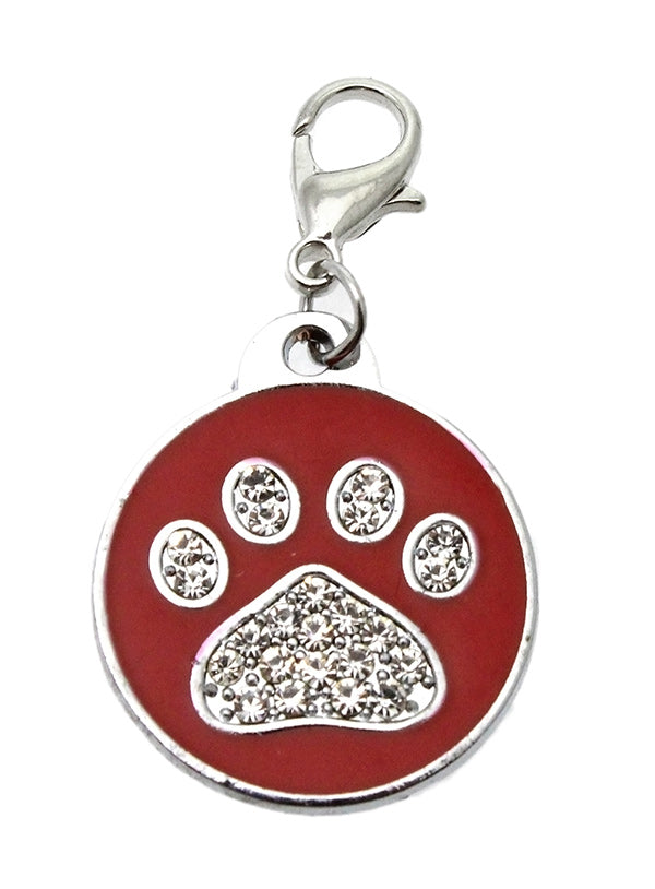 Red Enamel & Diamante Paw Dog Collar Charm is encrusted with diamantes and set against red enamel