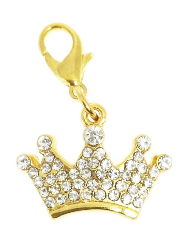 This crown shaped charm features 45 clear Swarovski Crystals set in gold-plated alloy