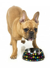 fuzzyard Space Raiders dog bowl is eye catching and retro in black, with colourful space invaders