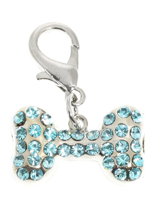 a stunning diamante bone charm for a dogs collar, embellished with 34 aquamarine Swarovski crystals