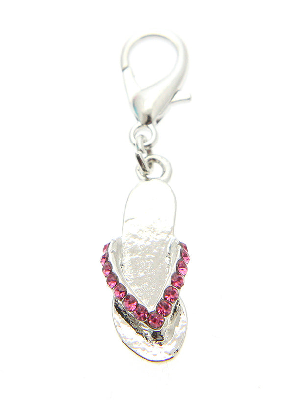 flip flop dog collar charm finished in Pink Swarovski crystals it is suitable for a boy or a girl.