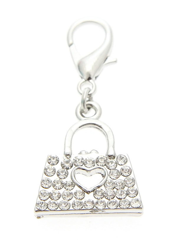 with its 30 Swarovski crystals and silver handles, a handbag charm for your dog collar