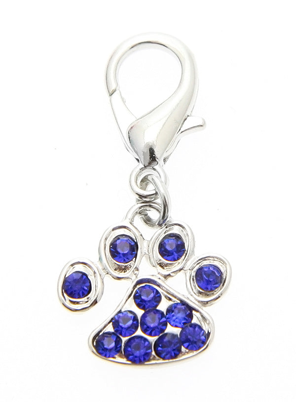 a beautiful paw shaped charm with blue swarovski diamantes for your dogs collar