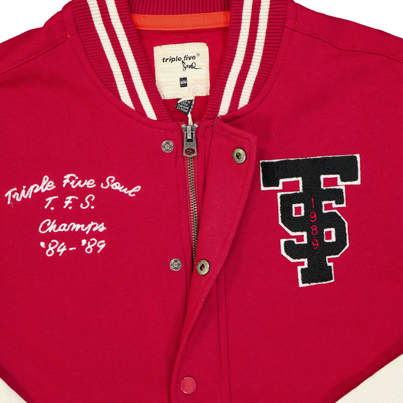 Triple Five Soul - Men's Knit Varsity Bomber (TMF175758 RED)