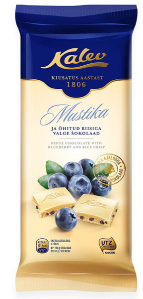 Kalev white chocolate with rice crisp and blueberries 100g
