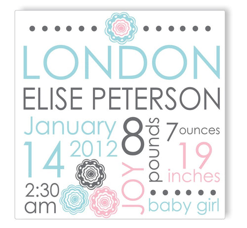 Blue Blooms Canvas Birth Announcement