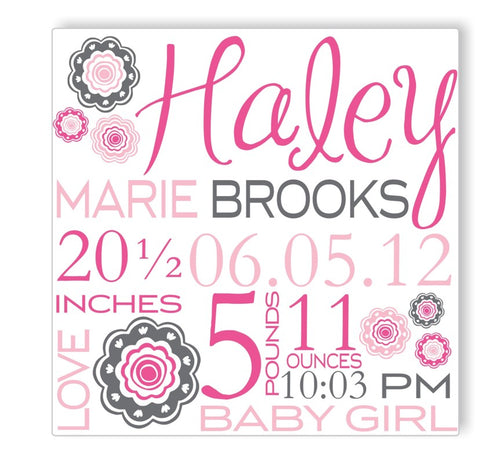 Blushing Blooms Canvas Birth Announcement