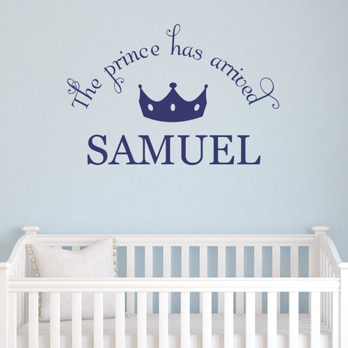 Prince Arrived Kids Wall Decal