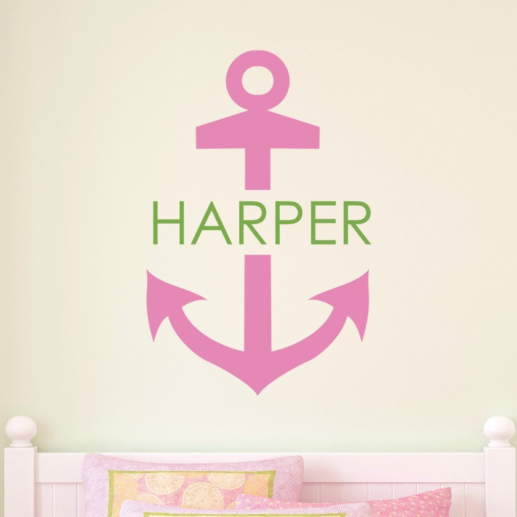 Nautical Anchor Girl Personalized Kids Wall Decal