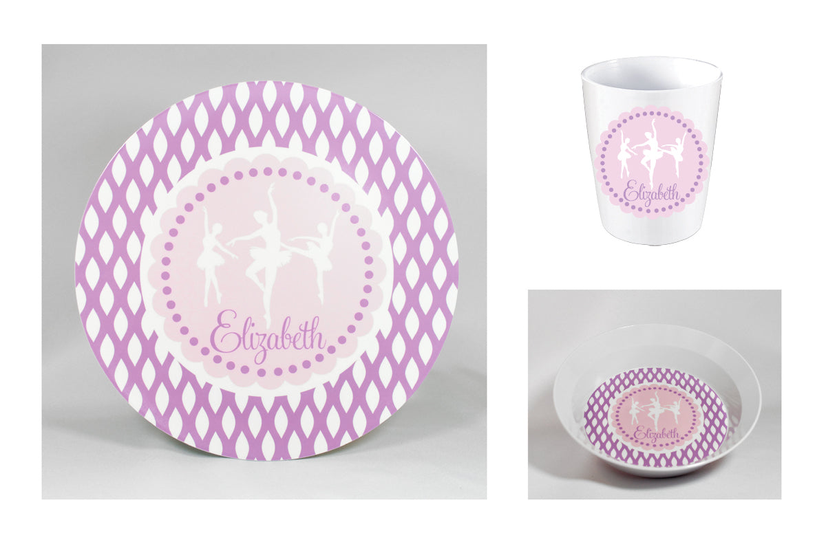 Ballerina Personalized Melamine Dinnerware Set, Plate, Bowl or Cup