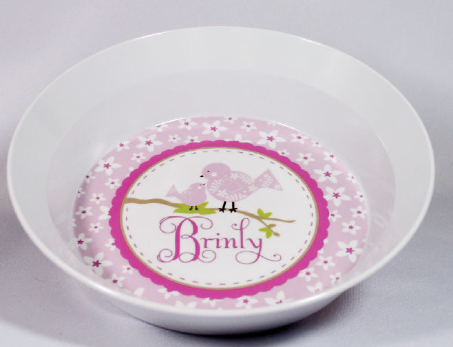 Birds and Flowers Personalized Melamine Dinnerware Set, Plate, Bowl or Cup