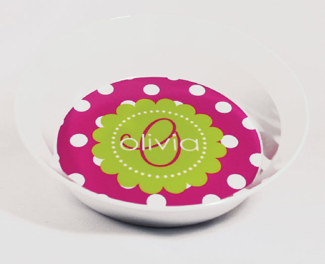 Scalloped Dots Personalized Melamine Dinnerware Set, Plate, Bowl or Cup