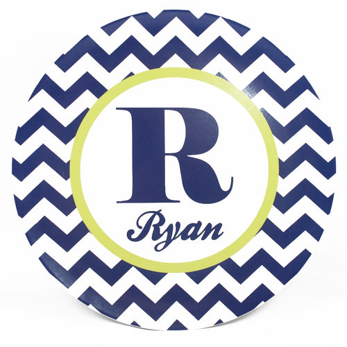 Chevron Personalized Melamine Dinnerware Set, Plate, Bowl or Cup