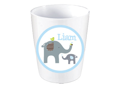 Elephant Love Chevron Personalized Melamine Dinnerware Set, Plate, Bowl or Cup