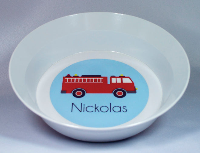 Firetruck Personalized Melamine Dinnerware Set, Plate, Bowl or Cup