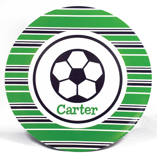 Soccer Ball Personalized Melamine Dinnerware Set, Plate, Bowl or Cup