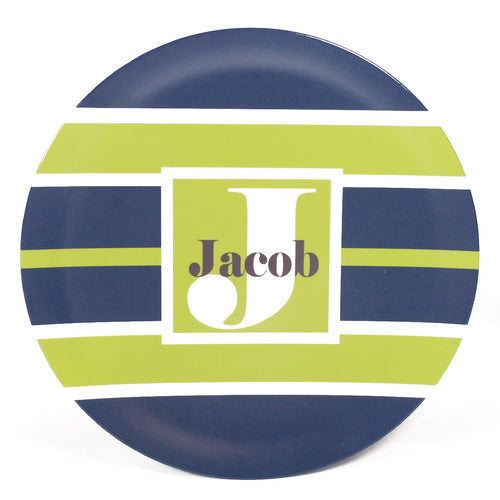 Stripes Personalized Melamine Dinnerware Set, Plate, Bowl or Cup