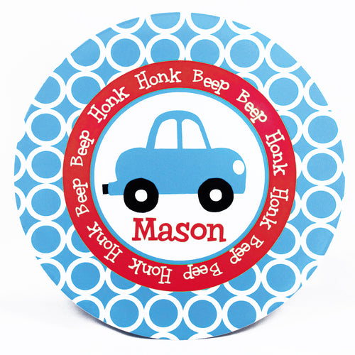 Car Personalized Melamine Dinnerware Set, Plate, Bowl or Cup