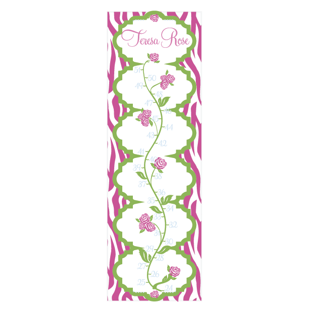 Personalized Rose Vine Canvas Growth Chart