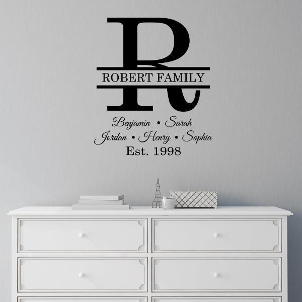 Classic Lines Family Monogram Personalized Wall Decal