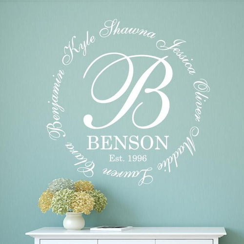 Family Initial Monogram Personalized Wall Decal