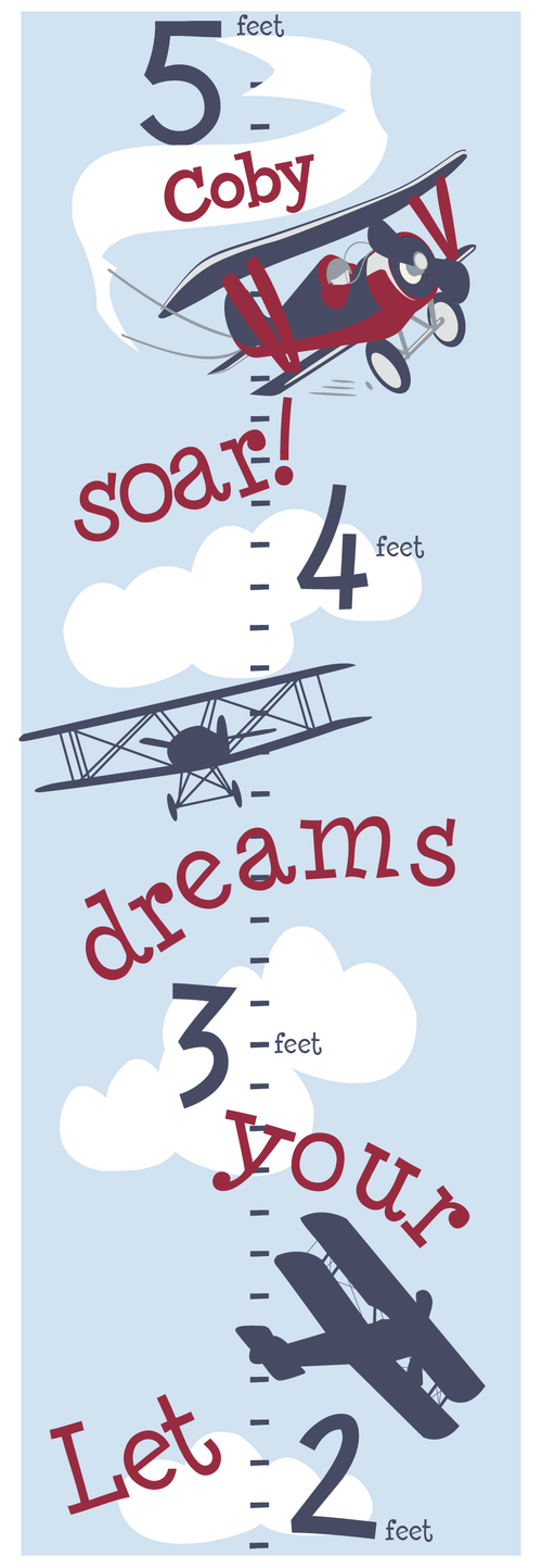Personalized Adventure Plane Canvas Growth Chart